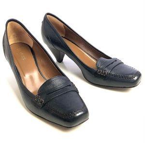 🌹38.5 Hobbes Blue Black Healed Loafers Italian